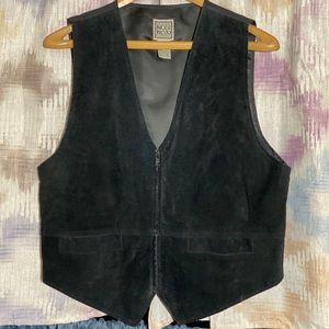 Vintage Black Leather Zip Up Vest